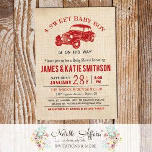 Vintage Dark Red Vroom Vroom Antique Car on Brown Linen Baby Shower invitation