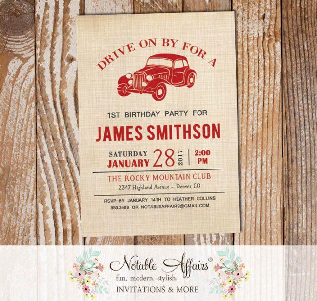 Vintage Dark Red Vroom Vroom Antique Car on Brown Linen Birthday invitation