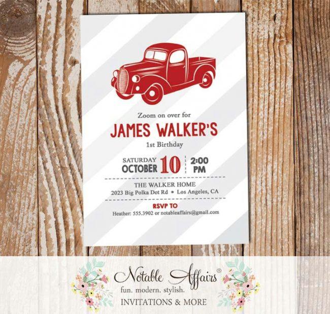 Vintage Dark Red Vroom Vroom Antique Truck Birthday party Baby Shower invitation gray stripes