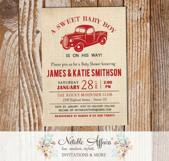 Vintage Dark Red Vroom Vroom Antique Truck on Brown Linen Birthday party Baby Shower invitation