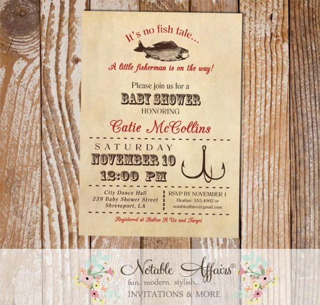 Vintage Fish Little Fisherman Dark Red baby shower invitation vintage background