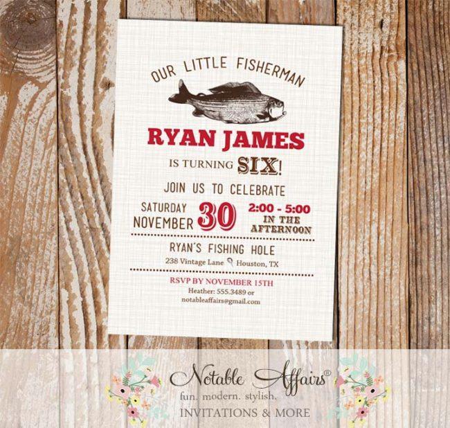 Vintage Fish Little Fisherman Dark Red BIRTHDAY invitation on brown linen