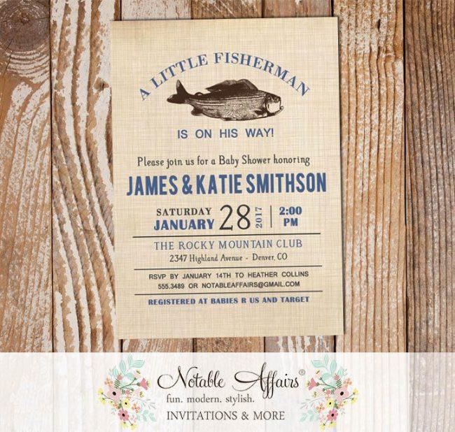 Vintage Fish Little Fisherman Light Navy baby shower invitation
