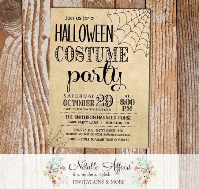 Vintage Halloween Costume Party invitation