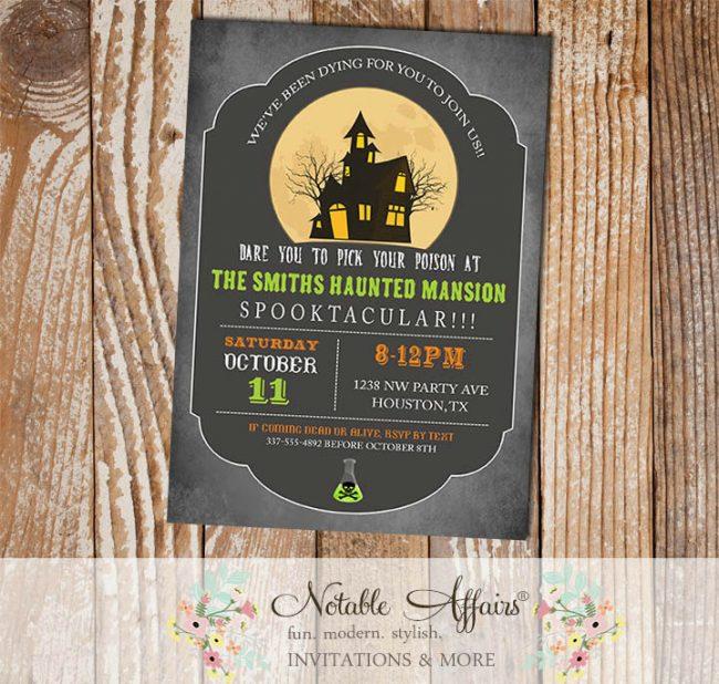 Vintage Halloween Pick your poison invitation