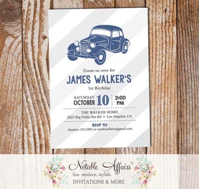 Vintage Light Navy Vroom Vroom Antique Car Birthday party Baby Shower invitation gray stripes