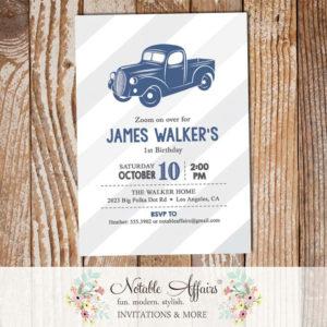 Vintage Light Navy Vroom Vroom Antique Truck Birthday party Baby Shower invitation gray stripes