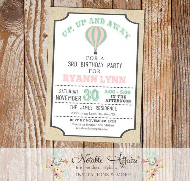 Vintage Light pink Mint and Gray Hot Air Balloon Birthday invitation on Kraft background