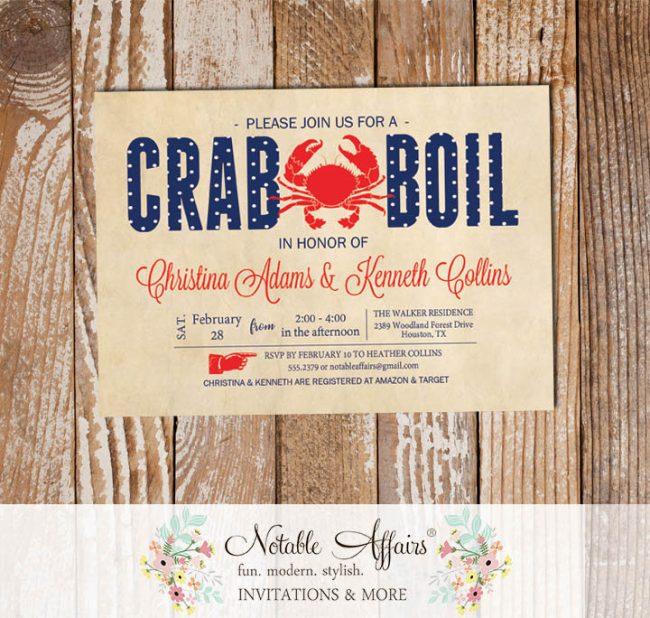 Vintage Red White Dark Navy Polka Dots Seafood Crab Boil Invitation