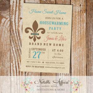 Vintage Rustic Fleur De Lis Housewarming Party invitation