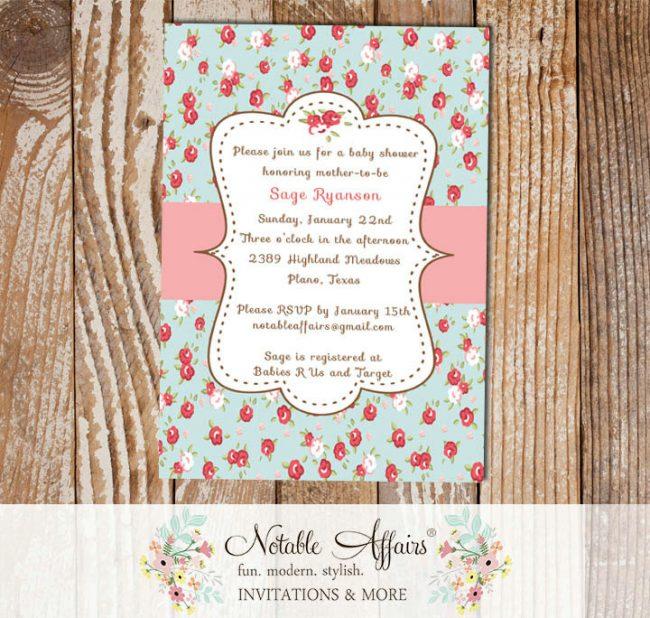 Vintage Shabby Chic Cottage Garden Party Baby Shower or Wedding Bridal Shower Invitation