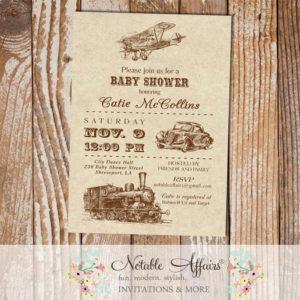 Vintage Transportation Baby Shower invitation