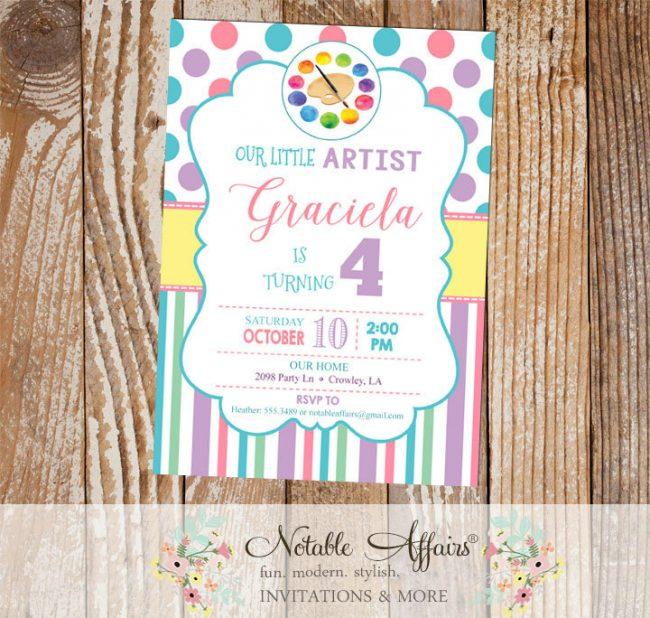 Watercolor Artist Polka Dots and Stripes Birthday Party invitation