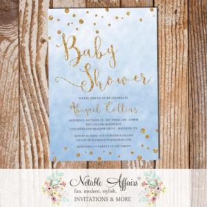 Watercolor Blue Gold Glitter Confetti Dots Baby Shower Invitation