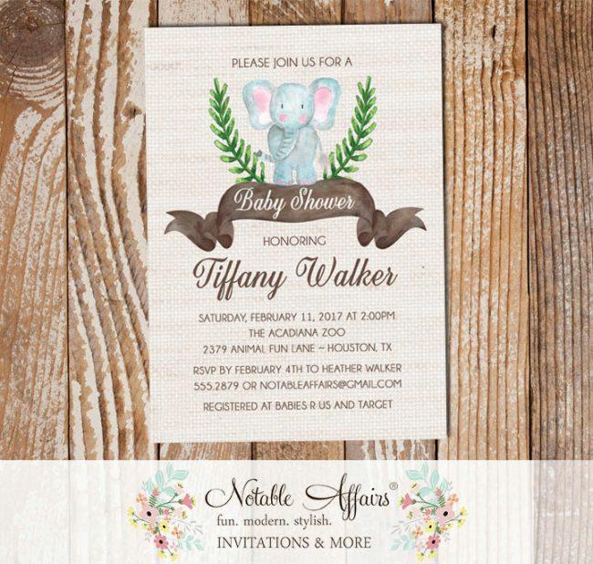 Watercolor Elephant Baby Shower or Birthday invitation