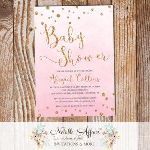 Watercolor Light Pink Gold Glitter Confetti Dots Baby Shower Invitation