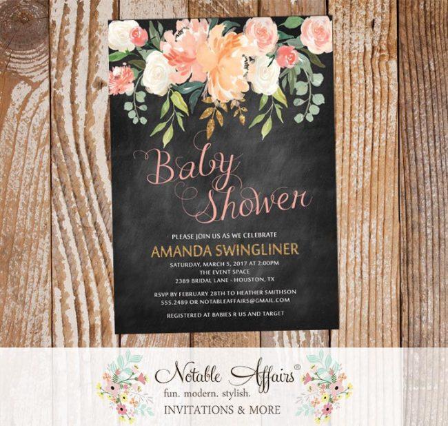 Watercolor Pastel Peony Rose Flowers Baby Shower Invitation on chalkboard