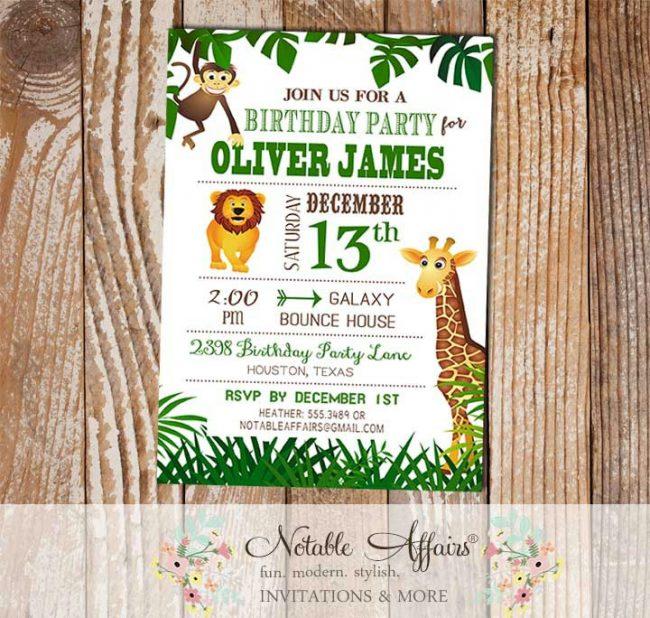 Wild Jungle Theme Zoo Animal Birthday Invitation