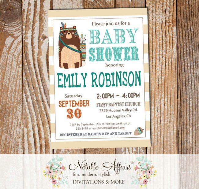 Wild One Tribal Woodland Bear Modern Baby Shower Invitation