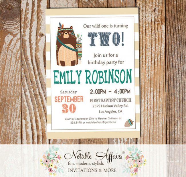 Wild One Tribal Woodland Bear Modern Birthday Invitation on stripes