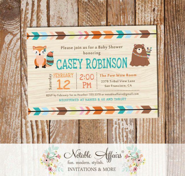 Wild One Tribal Woodland Fox Bear Baby Shower Invitation wood background