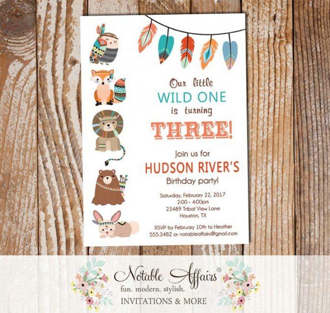 Wild One Tribal Woodland Fox Bear Birthday Invitation white background