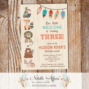 Wild One Tribal Woodland Fox Bear Birthday Invitation wood background