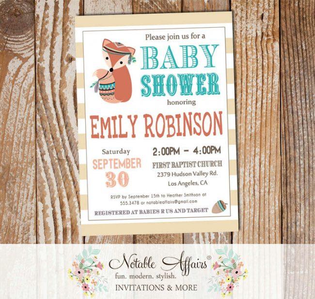 Wild One Tribal Woodland Fox Modern Baby Shower Invitation on stripes