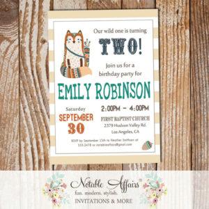 Wild One Tribal Woodland Fox Modern Birthday Invitation on stripes