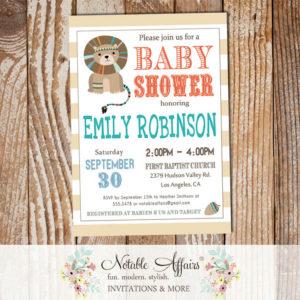 Wild One Tribal Woodland Lion Modern Baby Shower Invitation on stripes