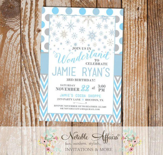 Winter Wonderland Snowflake chevron and polka dots Grays and Light Blues Birthday Party invitation