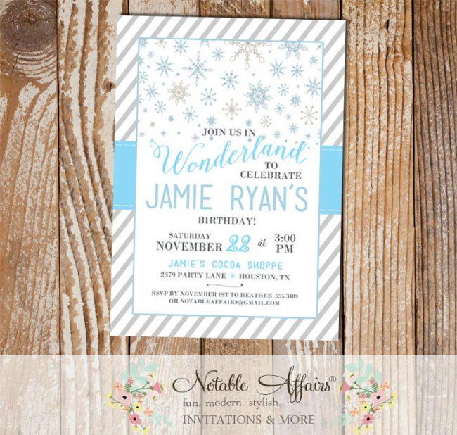 Winter Wonderland Snowflake stripes Grays and Light Blues Birthday Party invitation