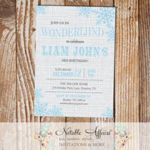 Winter Wonderland Snowflakes on Gray Linen Birthday Party invitation