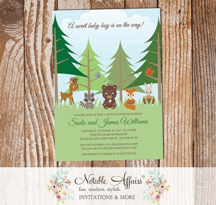 Woodland Forest Animals Baby Shower Invitation Notable Affairs