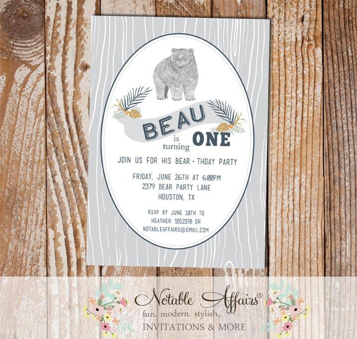 Woodland Rustic Bear Birthday Party Invitation On Fake Wood Background