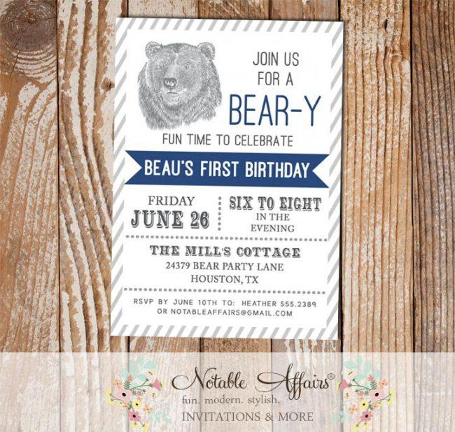 Woodland Rustic Bear Birthday Party invitation with diagonal stripes