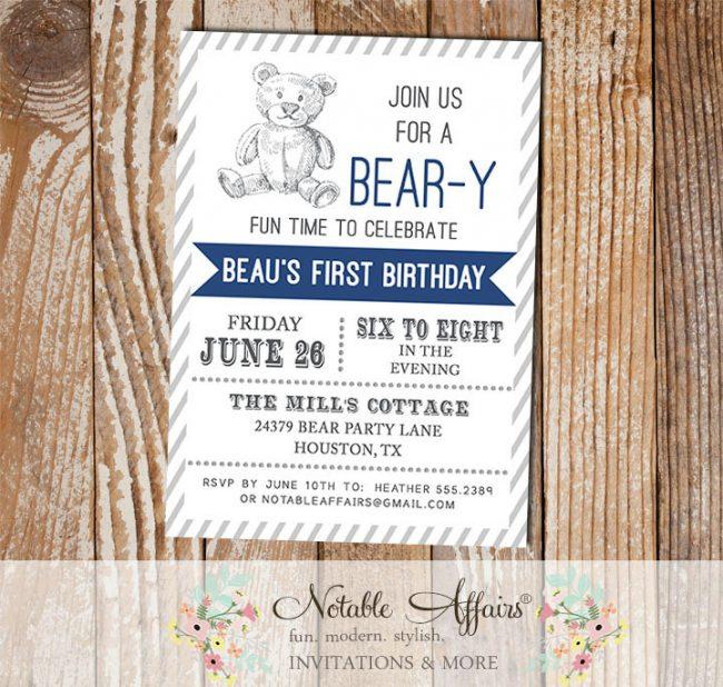 Woodland Rustic Teddy Bear Birthday Party invitation with diagonal stripes