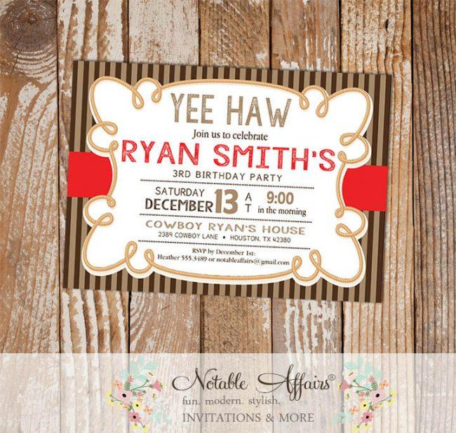 Yee Haw Cowboy Rope Birthday Party invitation