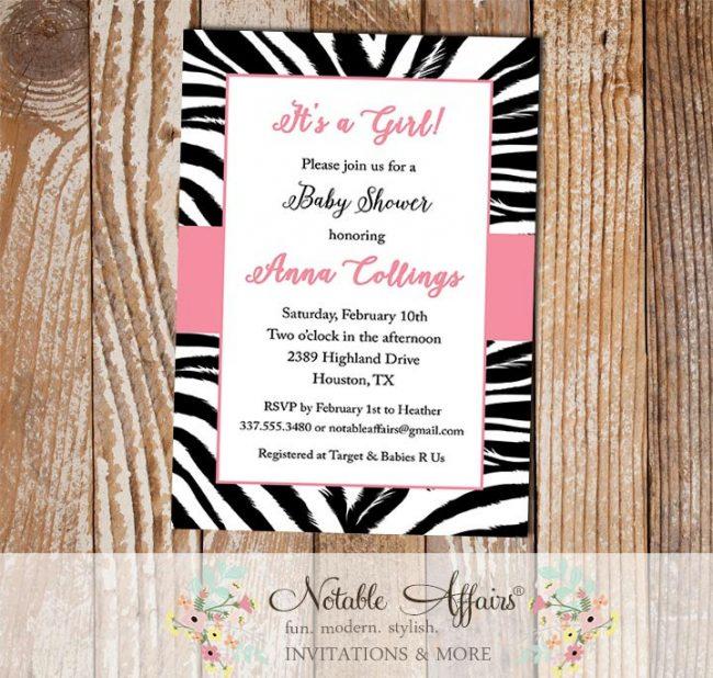 Zebra Print Border Invitation
