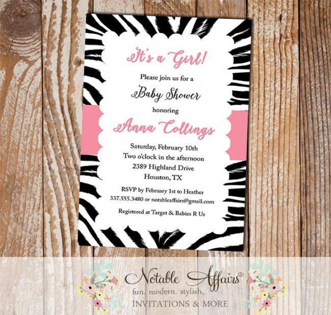 Zebra Print Border Scalloped Invitation